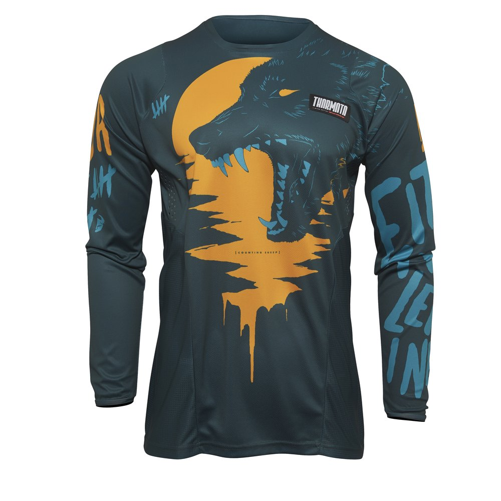 THOR Pulse Counting Sheep Youth Kinder Motocross Jersey tangerine türkis