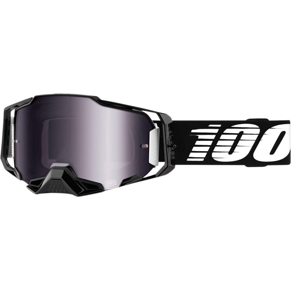 100% Armega Schwarz MX MTB Brille silber verspiegelt
